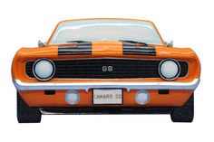 1969 Camaro Z 28 wall hanger will brighten up any room.  Great detail on the front end of one of the most famous muscle cars ever.  Measures 13 inches across.  Licensed product of General Motors.  $44.95