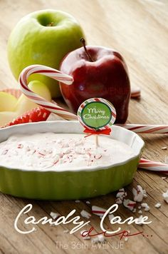 Delicious Candy Cane Dip Recipe and gift idea at the36thavenue.com Perfect for Christmas!