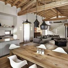 ImageFind images and videos about home, design and house on We Heart It - the app to get lost in what you love. Chalet Interior, Interior Design Living Room, Casa Hygge, Beautiful Interiors, Sweet Home, New Homes, Home Fashion, Room Decor, Dining