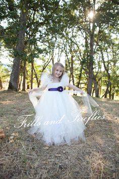Ivory Flower Girl Tutu Dress with Purple Satin Flower Sash by Frills and Fireflies, $95.00