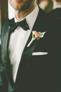 Classic! Tiny pink rosebud boutonniere looks fantastic with a tux | Los Angeles Athletic Club | Gina and Ryan Photography