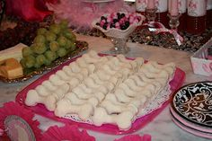 Cute Poodle Theme Girl Party! OMG!  Bone shaped finger sandwiches...