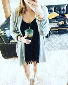 easy spring transition outfit for chilly mornings and warmer afternoons- romper with long cardi