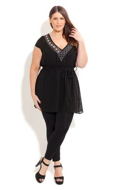 City Chic EMBRROIDED RINGS TUNIC - Plus Size Fashion