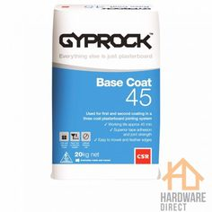 Gyprock Base Coat 45 is a specially formulated base compound used for the first and second coat in a three coat plasterboard jointing system. Tools Hardware, Safety First, Base Coat, Adhesive, Have Fun, Metallic, Construction, Messages, Glasses