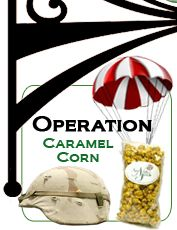SNACKS (Operation Caramel Corn ~ Naper Nuts & Sweets, IL) ships caramel corn to deployed military personnel. www.operationwearehere.com