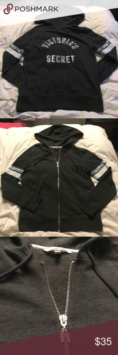 "Victoria's Secret Sequin Jacket ***NWOT***  Charcoal Victoria's Secret hoodie jacket that has sequin stripe on both arms along with a white stripe. On the back it says ""Victoria's Secret"" in sequins.  WOMEN SIZE: SMALL  (60% Cotton/ 40% Polyester) Victoria's Secret Jackets & Coats"