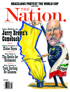 Jerry Brown's Comeback, The Nation / June 9-16, 2014. Illustration by Victor Juhasz.