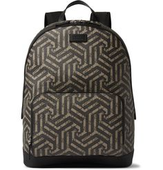 Gucci - Leather-Trimmed Geometric-Print Coated Canvas Backpack | MR PORTER