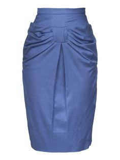 Lena Hoschek S/S 2014 Kissing Skirt in Long Electric Blue retro vintage mid century midcentury rockabilly full skirt flower flowers bow pencil
