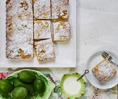 Feijoa crumble recipe - layers of delicious sweet pastry, feijoas, custard and crumble -combine to make an irresistible slice, perfect for an afternoon treat with a cup of tea Fejoa Recipes, Tart Recipes, Fruit Recipes, Dessert Recipes, Cooking Recipes, Guava Recipes, Nectarine Recipes, Recipies, Watermelon Recipes