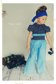 The Blue Striped Ruffle Top Wide Leg Trouser Pants from the Fleur + Dot Autumn Winter 12 Collection - product images  of