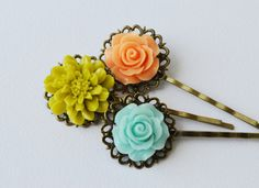 Triple Vintage Bobby Pins Flower Hair Pins by EllaHandmadeUnuque