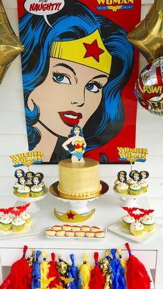 Jennifer R's Birthday / Wonder Woman - Photo Gallery at Catch My Party Wonder Woman Cake, Wonder Woman Birthday, Wonder Woman Party, Birthday Woman, 5th Birthday Party Ideas, Monster Birthday Parties, Anniversaire Wonder Woman, Girl Superhero Party, Festa Party