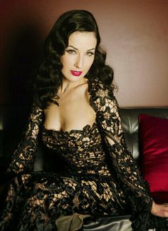 Dita Von Teese in black lace. She's slim, but with curves.  #curvy
