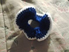 Blue n white shimmer scrunchie: Hair Accessories - Scr0006 - Handmade Crocheted Gifts from the Heart! HJ Love Crafts!