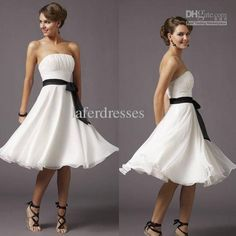 In Stock!!Sexy Hot  Pleat Black Belt White A Line Bridesmaid Dress Party Dresses Cocktail Dress DH6141, Free shipping, $29.39/Piece | DHgate Mobile