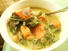 Vegan Chickpea, Sweet Potato and Turnip Green Soup