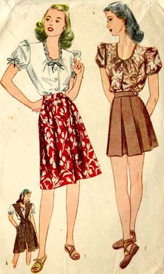 1940s older teen's blouse with skirt--very much like something Shirley Temple wore in her mid-teens.