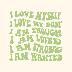 Self love affirmations aesthetic art print (4 colour options) self love, body positive, positivity, aesthetic room decor
