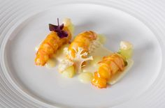 Langoustine with Cauliflower and Compressed Apple.