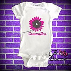 HANDMADE Personalized Name Flower Floral Pink Gray Flowers Girls Females Onesie Art Babies Baby Clothes Clothing Newborn Onesies Shower Gift gifts