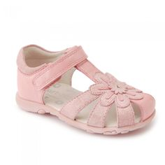 83b49cd71d7 Primrose, Pink Leather Girls Riptape Sandals - First Walking Shoes - Girls  Shoes Cute Girl