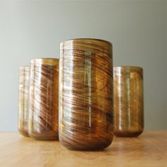 Set of Gold & Brown Glass Large Tumblers