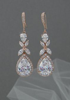 $50 Rose Gold Bridal earrings Wedding jewelry Swarovski Crystal Wedding earrings Bridal jewelry, Amielynn Earrings