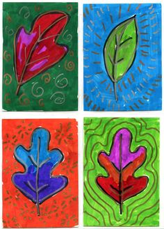 Art Projects for Kids: Leaf Art Trading Cards using Sharpie brush markers on fingerpainting paper