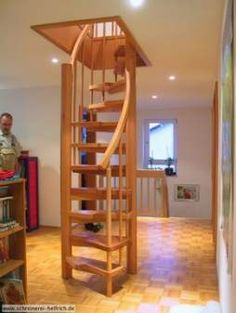 42 Trendy spiral stairs to attic space saving Loft Staircase, Attic Stairs, Staircase Design, Spiral Staircases, Tiny House Stairs, Tiny House Loft, Small Loft Spaces, Building Stairs, Stairs Architecture
