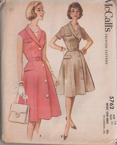 MOMSPatterns Vintage Sewing Patterns - McCall's 5762 Vintage 60's Sewing Pattern GORGEOUS & Unusual Side Front Wrap Buttoned Coat Dress, Flared Skirt, Hip Flap, Shawl Collar