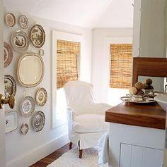 wicker and white, transferware walls