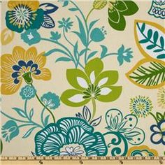 I'd love to do a wallpaper like this in an informal sitting room. I'd play off the yellow-greens in wing back chairs, do an ivory couch with blue and gold pillows and touches of the darker green in plants =)