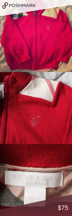 Authentic Burberry zip up cardigan. 100% cotton. Beautiful for the upcoming holidays or whenever. Perfect condition. Worn maybe 2 times. Too cute on Babak girl or boy. Purchased from Neiman Marcus. Can provide receipt. Burberry Shirts & Tops Sweaters
