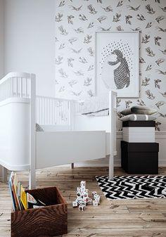 Une chambre d'enfant grise et fleurie - Plumetis Magazine