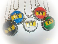 free shipping-5 NINJAGO eyes mask ninja birthday party favors bottlecap necklaces or keychains for goody loot bags. $9.99, via Etsy.