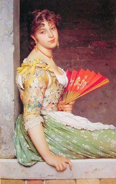Charles Joseph Frederick Soulacroix (1825-1897) Jeune Femme Oil on Panel 39 x 25 cm