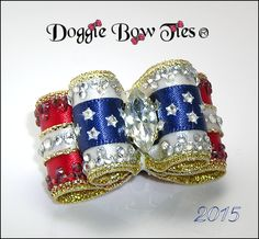 Dog Bows~Doggie Bow Ties Patriotic Crystal Show Dog Bow 2015...visit my Holiday Dog Bows page for this bow or other Holiday dog bows!