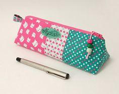 Batik cotton pencil case / Custom teacher's gift / Artist