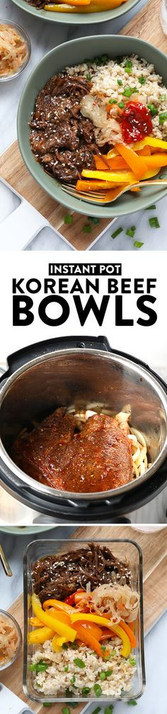 Start your week off right with these Instant Pot Shredded Korean Beef Bowls. Your family and friends will absolutely love this meal! It tastes fancy but only takes a couple hours to prepare fall-off-the-bone shredded Korean beef with your Instant Pot. Beef Recipes, Cooking Recipes, Healthy Recipes, Fast Recipes, Chicken Recipes, Healthy Food, Healthy Eating, Yummy Food, Beef Bowl Recipe