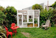 I want a garden office like this! Made from used window frames.