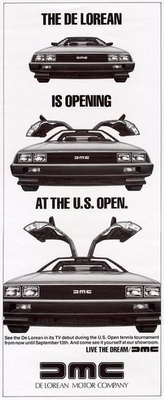 DeLorean Motor Company commercial for the US Open.