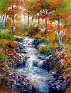 Francesco Mangialardi ~ Autumn And The Burbling Brook ~ Such Beautiful Colours!!