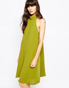 Paisie High Neck Swing Dress with Pleat Back