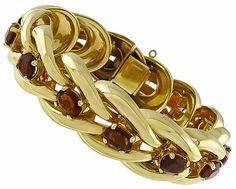 Vintage_26.0ct_Citrine_Gold_Bracelet | New York Estate Jewelry | Israel Rose