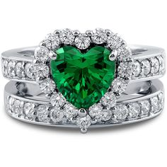 BERRICLE Sterling Silver Simulated Emerald CZ Heart Halo Engagement... ($93) ❤ liked on Polyvore featuring jewelry, rings, emerald, ring set, sterling silver, women's accessories, cubic zirconia engagement rings, sterling silver cubic zirconia rings, wedding rings and sterling silver rings