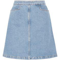 MiH Jeans Decade denim mini skirt (18.900 RUB) ❤ liked on Polyvore featuring skirts, mini skirts, blue, a-line button front skirt, short mini skirts, blue skirt, a-line skirt and blue a line skirt