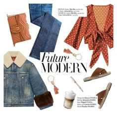"""""""Future modern"""" by punnky ❤ liked on Polyvore featuring Gucci, Haute Hippie, Montegrappa, modern, denimtrend and widelegjeans"""