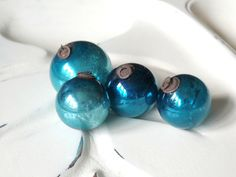 Vintage Blue Mercury Glass Ornaments, Christmas, Holiday, Kugels, Tiny, Feather Tree Ornaments  Vintage Blue Mercury Glass Ornaments Early,